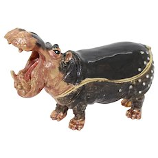 Bejewelled Hippopotamus Trinket or Dresser Box