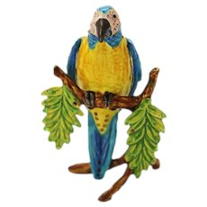 BeJeweled Blue & Yellow Macaw Parrot on Branch Trinket or Dresser Box