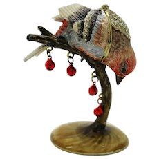 BeJeweled Peering Bird on a  Branch Trinket or Dresser Box