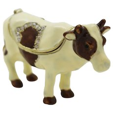 BeJeweled White & Black Standing Cow Trinket or Dresser Box
