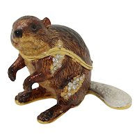 BeJeweled Brown Fancy Tailed Beaver Trinket or Dresser Box