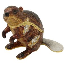 BeJeweled Brown Fancy Tailed Beaver Trinket or Dresser Box