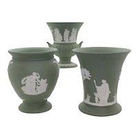 Trio of Wedgwood Green Jasperware Vases & Urns