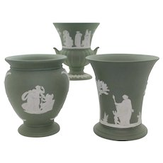 Trio of Wedgwood Green Jasperware Vases & Urns