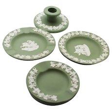 Wedgwood Green Jasperware Dishes & Candleholder