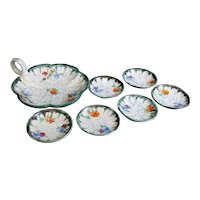 Dutch Ceramic Set of Floral Bowl and Six Dishes