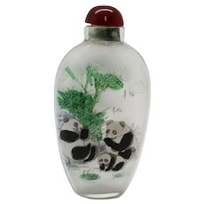 Asian Glass Panda Miniature Perfume or Snuff Bottle