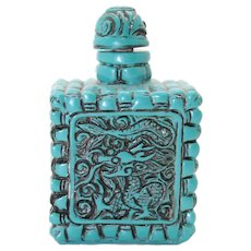 Asian Blue Carved Dragon Snuff or Perfume Bottle