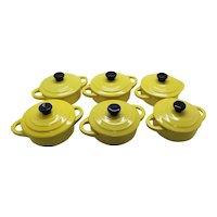 Set of Six Mustard Ceramic French Lidded Casseroles