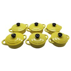 Set of Six Mustard Ceramic French Lidded Casseroles