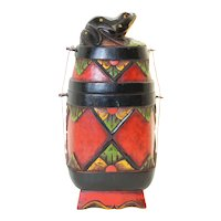 Asian Covered Ornate Medicine Box With Frog Decor