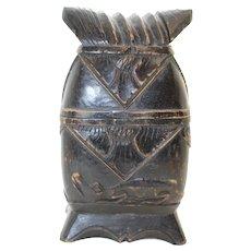 Asian Covered Ornate Medicine Box With Crocodile Decor