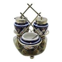 Multi Piece Silver Plated Imari Style Condiment Set