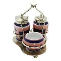 Multi Piece EPNS Plated Imari Style Condiment Set