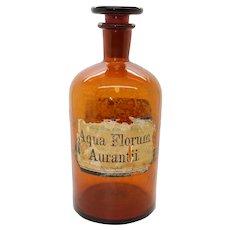 Antique Dutch Pharmacy Bottle - Aqua Florum Aurantii