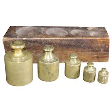 Set of Metric Scale Weights in Wooden Block