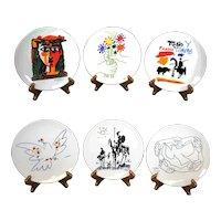 Pablo Picasso Set of Six Pristine Plates