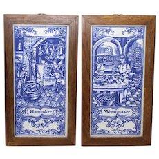 Dutch Blue Tiles Depicting Artisan Workers - S/2