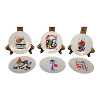 Joan Miro Set of Six Delicate Petite Decor Plates