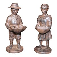 Pair of Farmer Couple with Offering Bowls