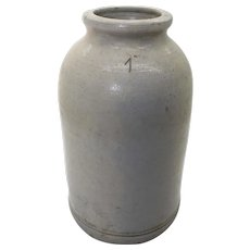 Large Aged Antique English Earthenware Jar - 19cm Tall