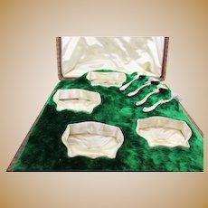 Four Salt Cellars & Spoon Boxed - .950 silver - Ravinet & D'Enfert