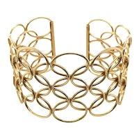 18 Karat Yellow Gold Woven Lace Cuff Bracelet