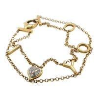 18 Karat Yellow Gold I Love You Chain Link Bracelet