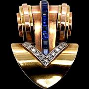 Cartier 14 Karat Two Tone Gold Sapphire & Diamond Clip