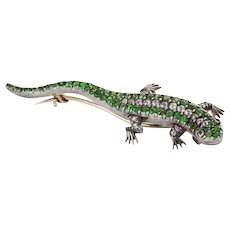 Diamond Demantoid Garnet and Ruby Salamander Brooch Pin
