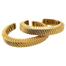 Tiffany & Co 18 Karat Yellow Gold Textured Cuffs
