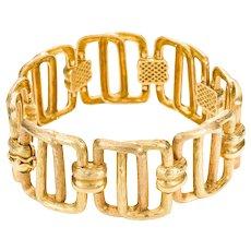 18 Karat Yellow Gold Hungarian Textured Link Bracelet