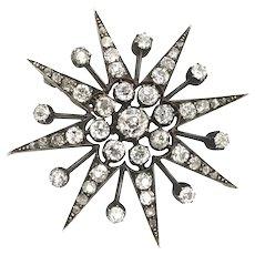 Victorian 2.97 Carat Old European Cut Diamond Eight Point Star Brooch Pendant