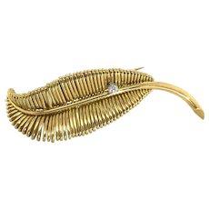 18 Karat Yellow Gold Diamond Set Leaf Brooch Pin