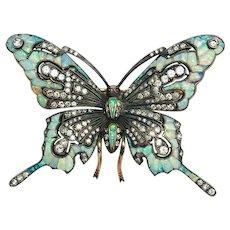 Opal, Diamond & Gold Butterfly Pin