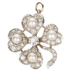 Antique Old European Cut Diamond and Pearl Shamrock Pendant Pin