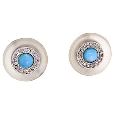 Rock Crystal Turquoise & Rose Cut Diamond Stud Earrings