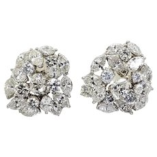 10 Carat Mixed Cut Diamond Ear Clips