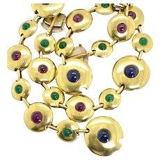 18 Karat Yellow Gold Gemstone Bracelet & Choker Set