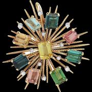 18 Karat Yellow Gold, Multi Coloured Tourmaline & Diamond Pendant Brooch
