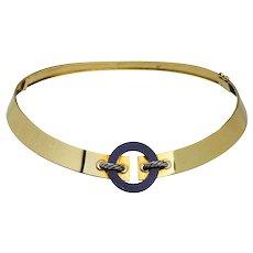 Cartier 18 Karat Yellow Gold & Lapis Lazuli Collar Necklace