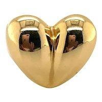 14 Karat Yellow Gold Kieselstein Cord Domed Heart Dress Ring
