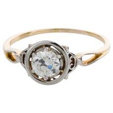 18 Karat Two Tone Gold Vintage Diamond Solitaire Engagement Ring