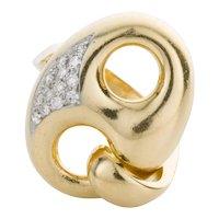 18 Karat Yellow Gold and Diamond Mariner Link Style Ring