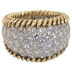 3.00 Carat Diamond Pave Set Yellow Gold Ring - Ring Size 5.5