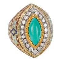 Turquoise Diamond Enamel and 18 Karat Gold Cazzaniga Roma Cocktail Dress Ring