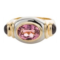 Torres Pink Tourmaline and Iolite 18 Karat White and Yellow Gold Dress Ring