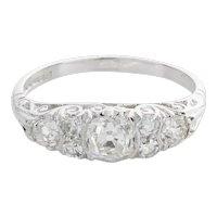 18 Karat White Gold Diamond Ornate Band Ring