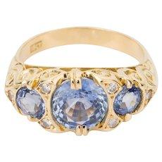 Lilac Sapphire & Diamond 18 Karat Yellow Gold Ring