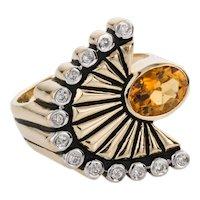 Erte 14 Karat Yellow Gold Citrine & Diamond 'La Mer' Cocktail Dress Ring